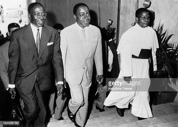 Arrival Senegal President Leopold Sedar SENGHOR president of Ivory Coast Felix HOUPHOUeTBOIGNY and Congo President Fulbert YOULOU for the Conference...