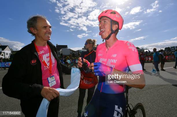 Arrival / Sep Vanmarcke of Belgium and Team EF Education First / Celebration / Soigneur / during the 83rd Bretagne Classic Ouest-France 2019 a...
