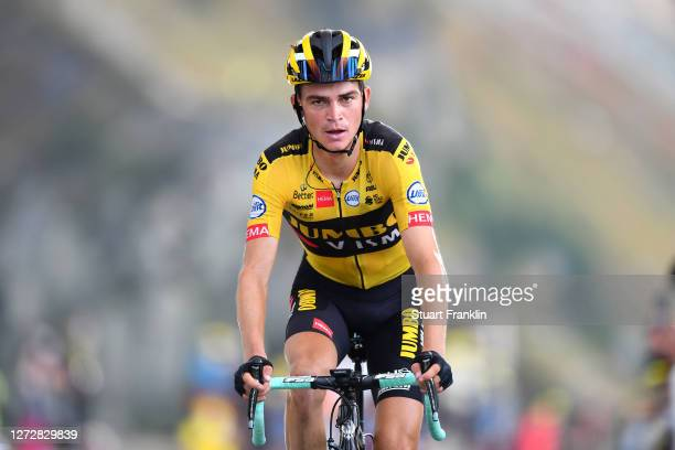Arrival / Sepp Kuss of The United States and Team Jumbo - Visma / Col de la Loze / during the 107th Tour de France 2020, Stage 17 a 170km stage from...