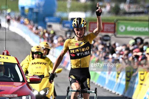 Arrival / Sepp Kuss of The United States and Team Jumbo - Visma / Celebration / during the 72nd Criterium du Dauphine 2020, Stage 5 a 153,5km stage...
