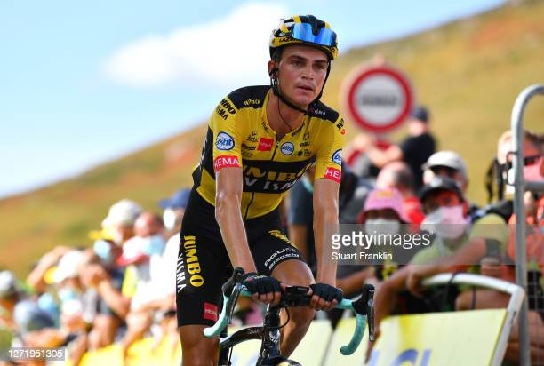 Arrival / Sepp Kuss of The United States and Team Jumbo - Visma / during the 107th Tour de France 2020, Stage 13 a 191,5km stage from Châtel-Guyon to...