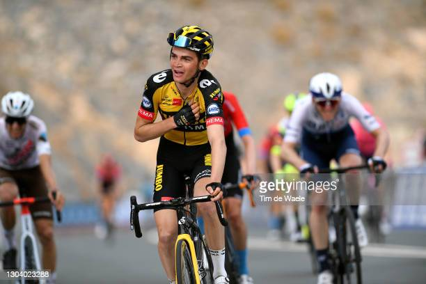 Arrival / Sepp Kuss of The United States and Team Jumbo-Visma Celebration, during the 3rd UAE Tour 2021, Stage 5 a 170km stage from Fujairah Marine...