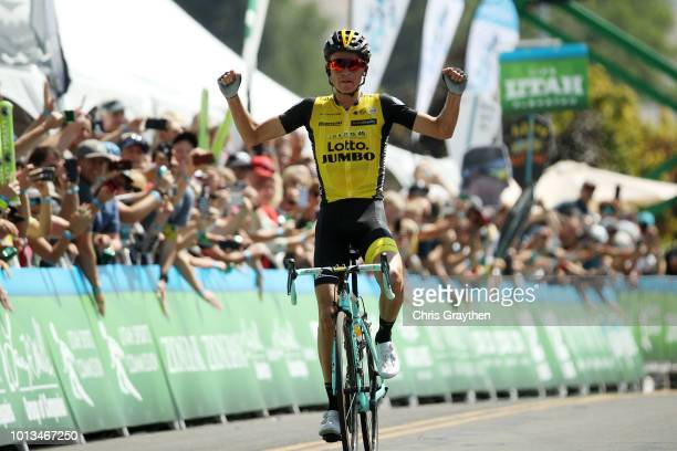 Arrival / Sepp Kuss of the United States and Team LottoNL - Jumbo/ Celebration / during the 14th Larry H. Miller Tour of Utah, Stage 2 a 142,6km...