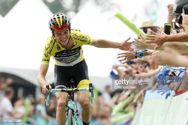 Arrival / Sepp Kuss of The United States and Team LottoNL-Jumbo Yellow Leader Jersey / Celebration / Fans / Public / during the 14th Larry H. Miller...