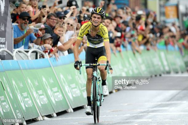 Arrival / Sepp Kuss of The United States and Team LottoNL-Jumbo / Celebration / yellow leader jersey / during the 14th Larry H. Miller Tour of Utah,...