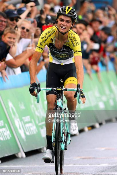 Arrival / Sepp Kuss of The United States and Team LottoNL-Jumbo Yellow Leader Jersey // Celebration / during the 14th Larry H. Miller Tour of Utah,...