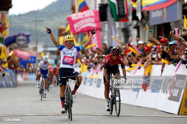 Arrival / Sergio Andres Higuita Garcia of Colombia and Team EF Pro Cycling White Best Young Jersey / Celebration / Egan Arley Bernal Gomez of...