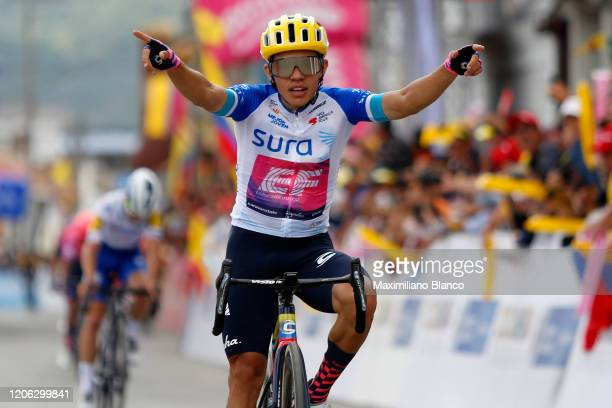 Arrival / Sergio Andres Higuita Garcia of Colombia and Team EF Pro Cycling White Best Young Jersey / Celebration / Julian Alaphilippe of France and...