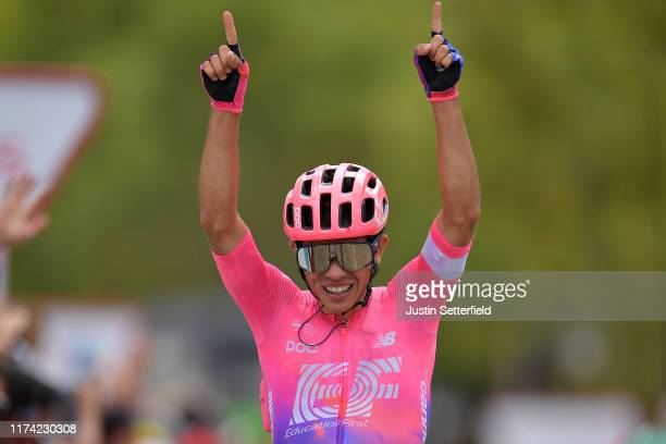 Arrival / Sergio Andres Higuita of Colombia and Team EF Education First / Celebration / during the 74th Tour of Spain 2019, Stage 18 a 178,2km stage...