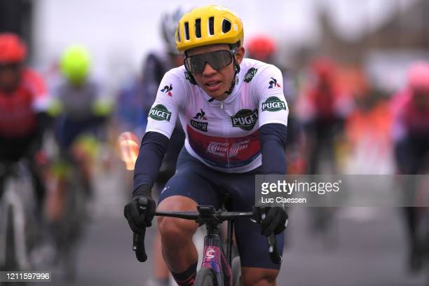 Arrival / Sergio Andres Higuita of Colombia and Team Ef Education First White Best Young Jersey / during the 78th Paris - Nice 2020, Stage 3 a...