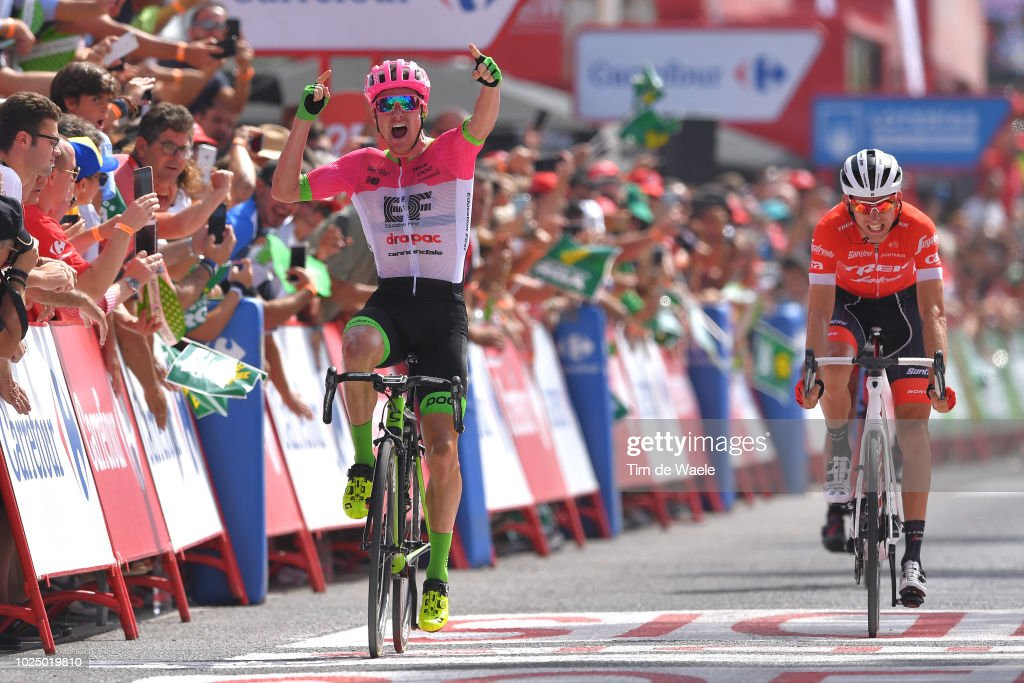 Arrival / Simon Clarke of Australia and Team EF Education First - Drapac P/B Cannondale / Celebration / Bauke Mollema of The Netherlands and Team Trek Segafredo / during the 73rd Tour of Spain 2018, Stage 5 a 188,7km stage from Granada to Roquetas de Mar / La Vuelta / on August 29, 2018 in Roquetas de Mar, Spain.