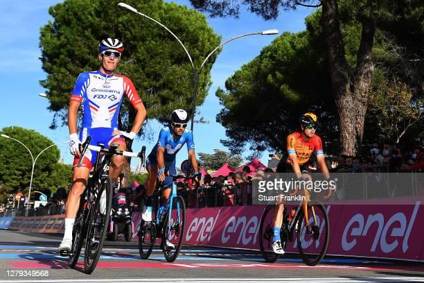 Arrival / Simon Guglielmi of France and Team Groupama - FDJ / Hector Carretero of Spain and Movistar Team / Jan Tratnik of Slovenia and Team Bahrain...