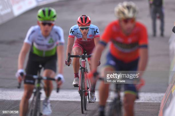 Arrival / Simon Spilak of Slovenia / during the 53rd TirrenoAdriatico 2018 Stage 4 a 219km stage from Follonica to Sarnano Sassotetto 1335m on March...