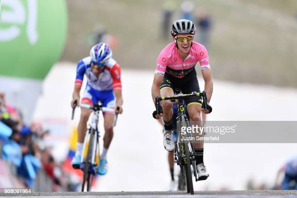 Arrival / Simon Yates of Great Britain and Team Mitchelton-Scott Pink Leader Jersey / Thibaut Pinot of France and Team Groupama-FDJ / during the...