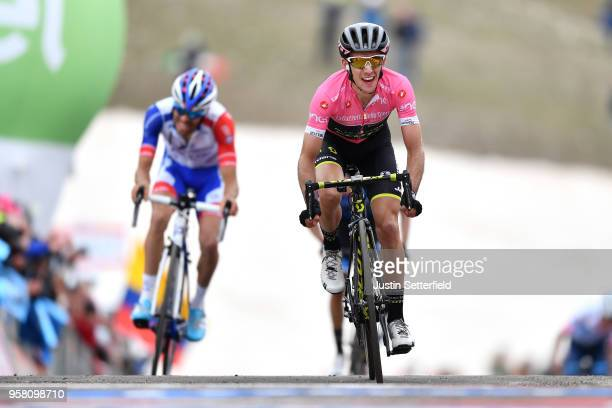 Arrival / Simon Yates of Great Britain and Team Mitchelton-Scott Pink Leader Jersey / Celebration / Thibaut Pinot of France and Team Groupama-FDJ /...
