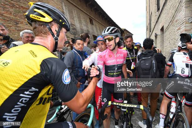 Arrival / Simon Yates of Great Britain and Team MitcheltonScott Pink Leader Jersey / Celebration / with Enrico Battaglin of Italy and Team...
