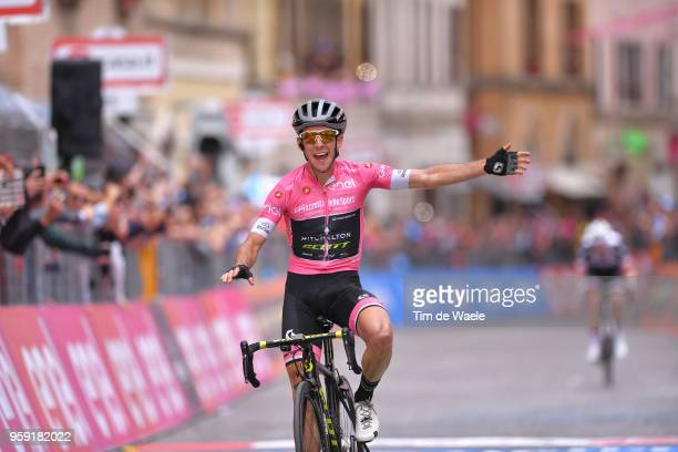 Arrival / Simon Yates of Great Britain and Team MitcheltonScott Pink leader Jersey / Celebration / during the 101st Tour of Italy 2018 Stage 11 a...
