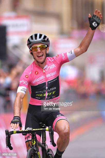 Arrival / Simon Yates of Great Britain and Team Mitchelton-Scott Pink leader Jersey / Celebration / during the 101st Tour of Italy 2018, Stage 11 a...
