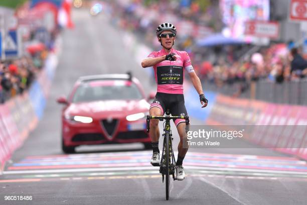 Arrival / Simon Yates of Great Britain and Team MitcheltonScott Pink Leader Jersey / Celebration / during the 101st Tour of Italy 2018 Stage 15 a...