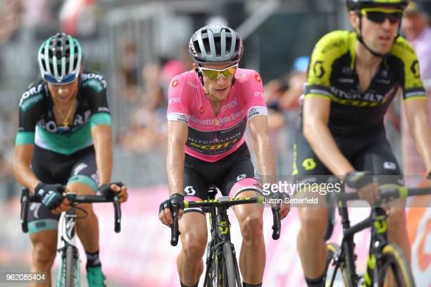 Arrival / Simon Yates of Great Britain and Team Mitchelton-Scott Pink Leader Jersey / during the 101st Tour of Italy 2018, Stage 18 a 196km stage...
