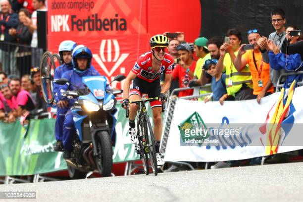 Arrival / Simon Yates of Great Britain and Team Mitchelton-Scott Red Leaders Jersey / Celebration / during the 73rd Tour of Spain 2018, Stage 20 a...