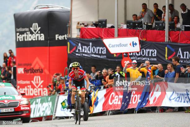 Arrival / Simon Yates of Great Britain and Team MitcheltonScott Red Leaders Jersey / Celebration / during the 73rd Tour of Spain 2018 Stage 20 a...