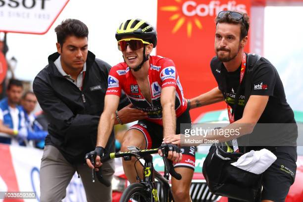 Arrival / Simon Yates of Great Britain and Team Mitchelton-Scott Red Leader Jersey / Celebration / Soigneur / during the 73rd Tour of Spain 2018,...