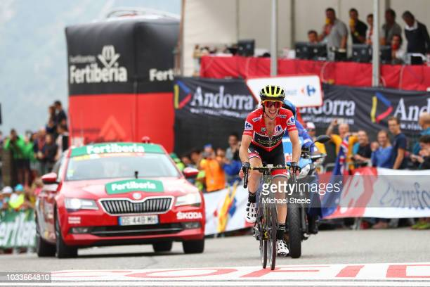 Arrival / Simon Yates of Great Britain and Team MitcheltonScott Red Leader Jersey / Celebration / during the 73rd Tour of Spain 2018 Stage 20 a 973km...