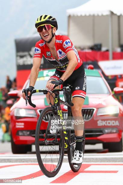 Arrival / Simon Yates of Great Britain and Team Mitchelton-Scott Red Leader Jersey / Celebration / during the 73rd Tour of Spain 2018, Stage 20 a...