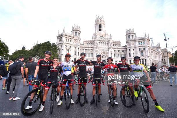 Arrival / Simon Yates of Great Britain and Team MitcheltonScott Red Leader Jersey / Michael Albasini of Switzerland / Alex Edmondson of Australia /...