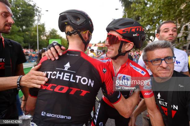 Arrival / Simon Yates of Great Britain and Team MitcheltonScott Red Leader Jersey / Jack Haig of Australia and Team MitcheltonScott / Celebration /...