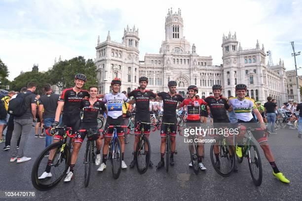 Arrival / Simon Yates of Great Britain and Team Mitchelton-Scott Red Leader Jersey / Michael Albasini of Switzerland / Alex Edmondson of Australia /...