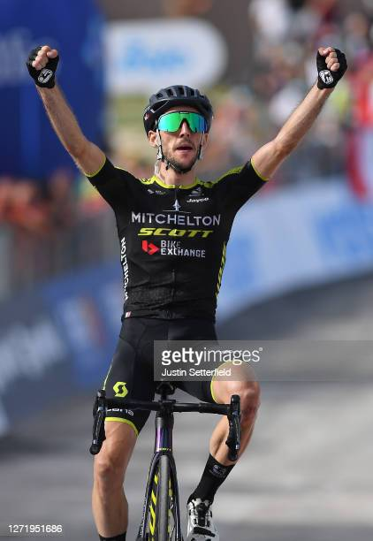 Arrival / Simon Yates of The United Kingdom and Team Mitchelton-Scott / Celebration / during the 55th Tirreno-Adriatico 2020, Stage 5 a 202km stage...
