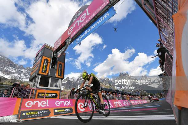 Arrival / Simon Yates of United Kingdom and Team Mitchelton Scott Disappointment / San Martino di Castrozza / Landscape / Mountains / Snow / during...