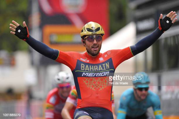 Arrival / Sonny Colbrelli of Italy and Bahrain Merida Pro Cycling Team Celebration during the 102nd Giro del Piemonte 2018 a 191km race from...