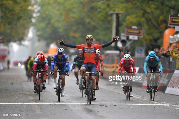 Arrival / Sonny Colbrelli of Italy and Bahrain Merida Pro Cycling Team Celebration / Florian Senechal of France and Team Quick Step Floors / Davide...