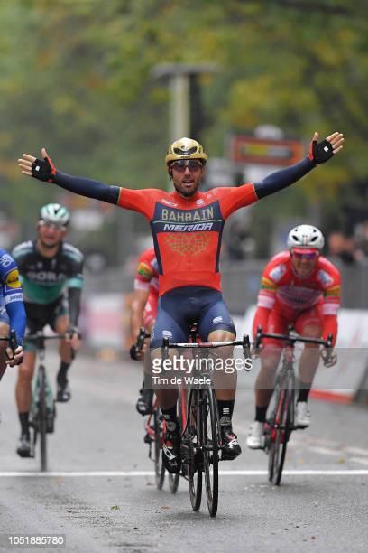 Arrival / Sonny Colbrelli of Italy and Bahrain Merida Pro Cycling Team Celebration / Davide Ballerini of Italy and Team Androni Giocattoli / Jhonatan...