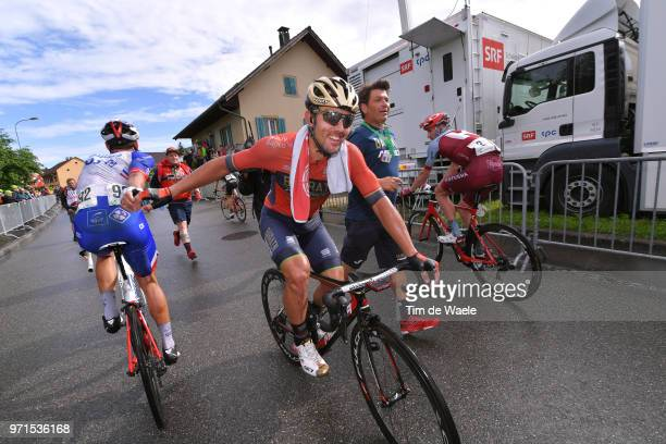 Arrival / Sonny Colbrelli of Italy and Bahrain Merida Pro Team / Celebration / Davide Cimolai of Italy and Team Groupama FDJ / during the 82nd Tour...