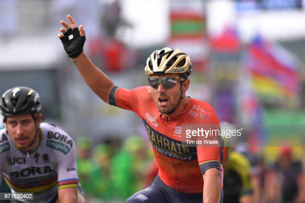 Arrival / Sonny Colbrelli of Italy and Bahrain Merida Pro Team / Celebration / Peter Sagan of Slovakia and Team Bora - Hansgrohe / during the 82nd...