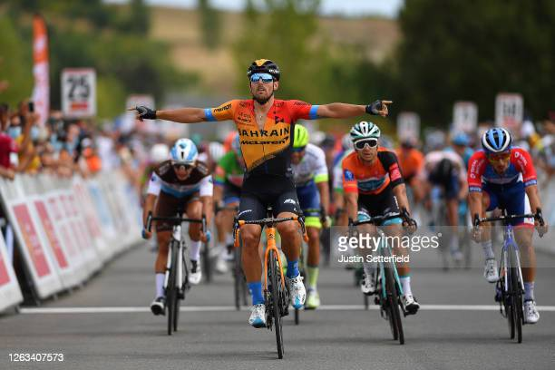 Arrival / Sonny Colbrelli of Italy and Team Bahrain McLaren / Celebration / Bryan Coquard of France and Team BB Hotels Vital Concept Orange Leader...