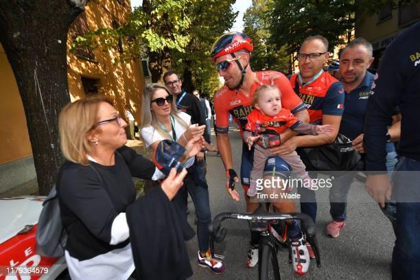 Arrival / Sonny Colbrelli of Italy and Team Bahrain - Merida / Adelina Freddi of Italy Wife / Vittoria Colbrelli of Italy daughter / Celebration /...