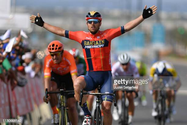 Arrival / Sonny Colbrelli of Italy and Team Bahrain - Merida / Celebration / Greg Van Avermaet of Belgium and CCC Team / during the 10th Tour of Oman...