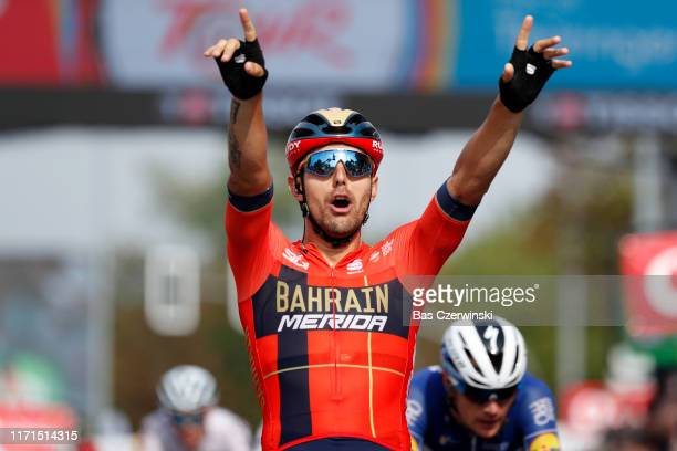 Arrival / Sonny Colbrelli of Italy and Team Bahrain - Merida / Celebration / during the 34th Deutschland Tour 2019, Stage 4 a 159,9km stage from...