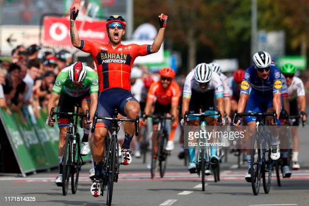 Arrival / Sonny Colbrelli of Italy and Team Bahrain - Merida / Celebration / Alexander Kristoff of Norway and UAE - Team Emirates Green Sprint Jersey...