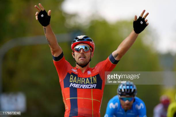 Arrival / Sonny Colbrelli of Italy and Team Bahrain - Merida / Celebration / Alejandro Valverde Belmonte of Spain and Movistar Team / during the 24th...