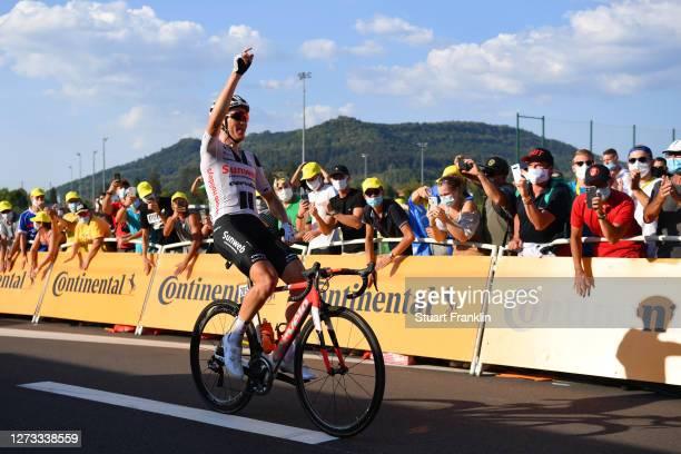 Arrival / Soren Kragh Andersen of Denmark and Team Sunweb / Celebration / Public / Fans / during 107th Tour de France 2020, Stage 19 a 166,5km stage...