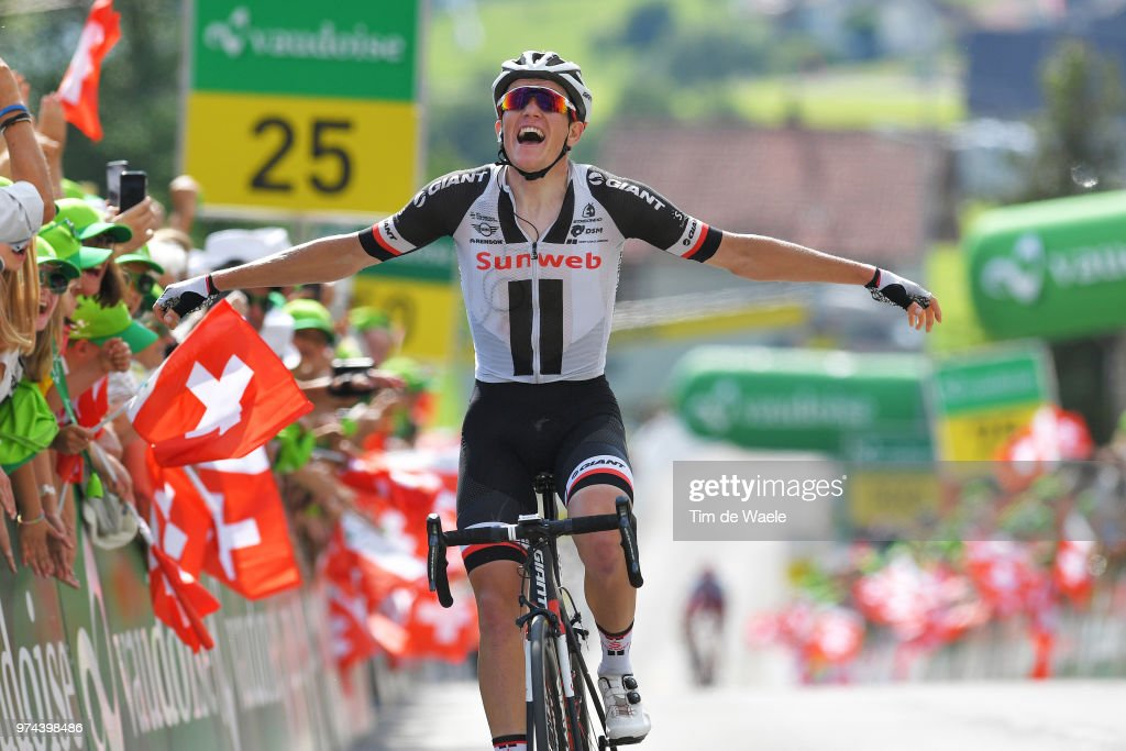 Arrival / Soren Kragh Andersen of Denmark and Team Sunweb / Celebration / during the 82nd Tour of Switzerland 2018 / Stage 6 a 186km from Fiesch to Gommiswald 598m on June 14, 2018 in Gommiswald, Switzerland.