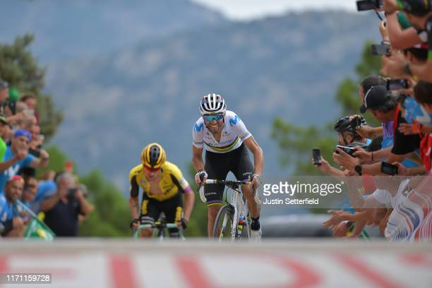 Arrival / Sprint / Alejandro Valverde Belmonte of Spain and Movistar Team / Primoz Roglic of Slovenia and Team Jumbo-Visma / during the 74th Tour of...