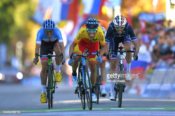 Arrival / Sprint / Alejandro Valverde of Spain / Romain Bardet of France / Michael Woods of Canada during the Men Elite Road Race a 2585km race from...