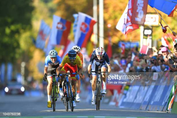 Arrival / Sprint / Alejandro Valverde of Spain / Romain Bardet of France / Michael Woods of Canada during the Men Elite Road Race a 258,5km race from...